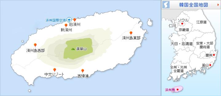 済州島の地図