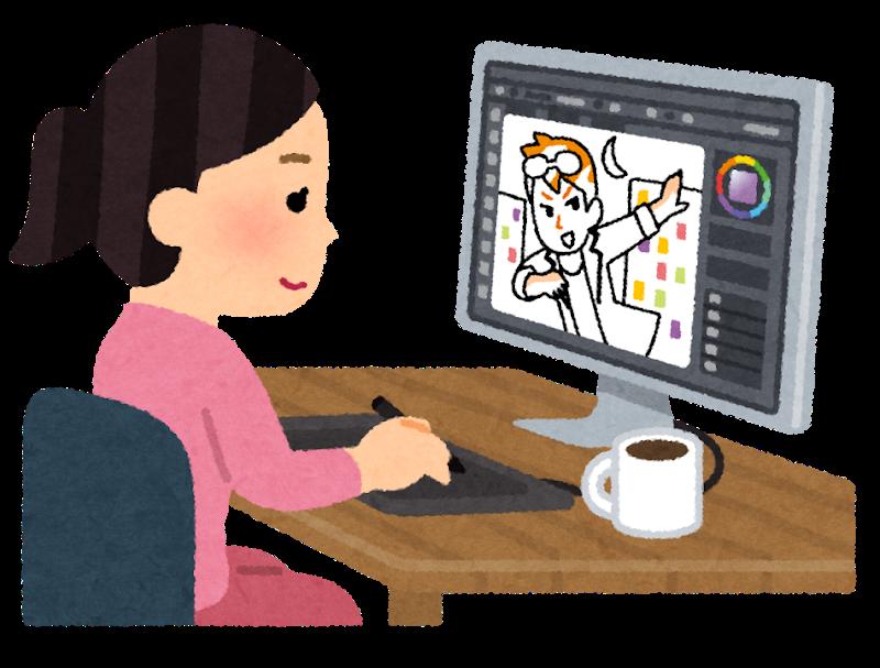 イラストを描く女性のイラスト